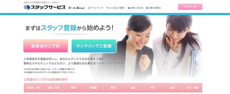 スタッフサービスのトップ画面イメージ